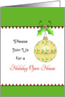 Christmas Holiday Open House Invitation, Ornament, Holly, Berry card