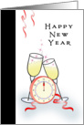 Business Happy New Year Greeting Card with Champagne Glasses-Clock card