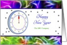 Business Happy New Year Greeting Card with Clock-Customizable Text card