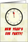 New Year's Eve Party Invitation, Clock, Red, Black card