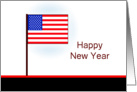Patriotic New Year Greeting Card, American Flag card