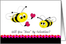 Will You Bee My Valentine Greeting Card, Bumble Bees, Hearts card