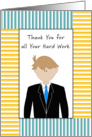 For Male Employee Thank You For all Your Hard Work Card