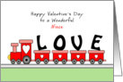 For Niece Valentine's Day Greeting Card with Train Full of Love card