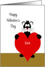 For Son Valentine's Day Card-Black Cat Holding Red Heart card