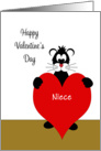 For Niece Valentine's Day Card-Black Cat Holding Red Heart card