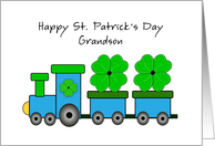 For Grandson St. Patrick's Day Greeting Card-Train-Green Clover Leaf card