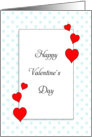 Valentine's Day Card with Blue Heart Background-Red Heart Border card