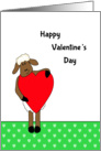 Happy Valentine's Day - Ewe / Sheep / Lamb Holding a Red Heart card