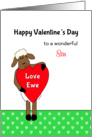 For Son Valentine's Day Card - Ewe/Sheep Holding Red Heart card