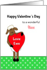 For Niece Valentine's Day Card - Ewe/Sheep Holding Red Heart card