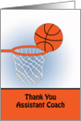 For Assistant Basketball Coach Thank You Greeting Card-Basketball, Net card