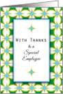Employee Thank You Greeting Card-Green Blue Diamond Background card