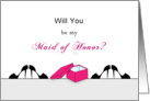 Be My Maid of Honor Greeting Card- Shoe Box and Stilettos card