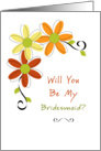For Bridesmaid-Be My Bridesmaid Greeting Card-Three Autumn Flowers card