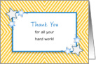 Employee Thank You Greeting Card-Stars over Abstract Striped Backgroun card