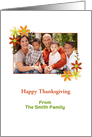 Customizable Thanksgiving Photo Card with Autumn Flowers card