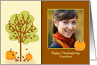 Customizable Thanksgiving Photo with Tree and Pumpkin card