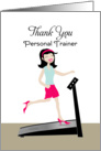 Personal Trainer Thank You Greeting Card-Retro Girl on Treadmill card