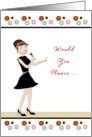 Wedding Singer Invitation Request-Retro Girl-Microphone card