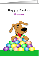For Grandson Happy Easter Greeting Card-Dog & Eggs-Custom Text card