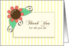 Business Employee Thank You Greeting Card-Flower- card