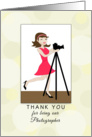 For Female Photographer Thank You Greeting Card-Retro Girl-Camera card