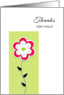 Thank You Greeting Card-Thanks Very Much-Pink Flower with Dots card