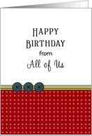 From All of Us Birthday Greeting Card-Three Button Design card