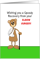 Elbow Surgery Get Well Greeting Card-Bear with Arm in Cast and Cane card