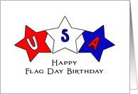 Flag Day Birthday Greeting Card-Red, White and Blue Star Design card