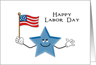 Labor Day Greeting Card-Happy Smiling Blue Star-American Flag card