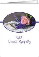 Deepest Sympathy Card with Pink Rose and Gold Cross card