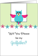 Be My Godfather Christening/Baptism Greeting Card-Pink Blue Owl card