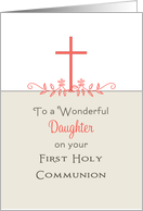 For Daughter First Holy Communion Greeting Card-Cross-Leaf Scroll card