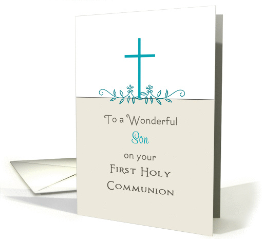 For Son First Holy Communion Greeting Card-Cross-Leaf Scroll card