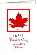 For Father Canada Day Greeting Card-Red Maple Leaf card