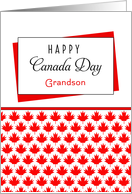 For Grandson Canada Day Greeting Card - Maple Leaf Background card