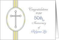 50th Ordination Anniversary Congratulations Card-Religious Life-Cross card