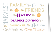 General Thanksgiving Card with Word Text, Pumpkins and Leaves card