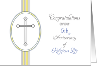 5th Anniversary of Ordination Congratulations Card-Religious Life card