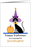 For Granddaughter Halloween Card-Black Cat-Witches Hat-Pumpkin card
