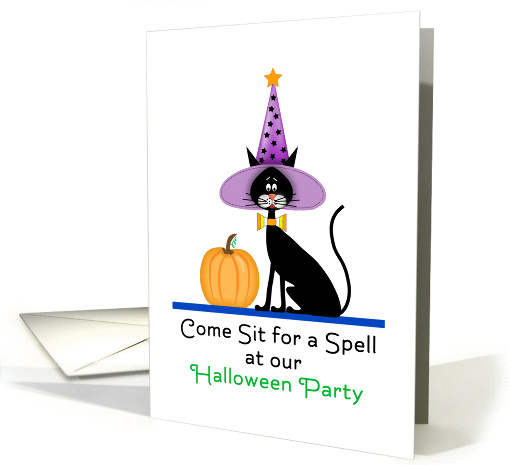 Halloween Party Invitation-Black Cat-Witches Hat-Pumpkin card