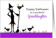 For Granddaughter Halloween Card-Witch, Broom, Black Bird, Crows card