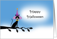 General Halloween Card with Black Cat-Witches Hat-Tree Branch card