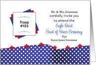 Custom Eagle Scout Court of Honor Invitation-Red,White,Blue, Stars card