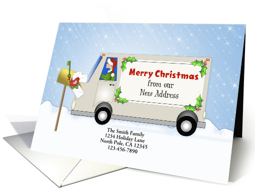 New Address Christmas Card-Moving Truck Snow... (1170246)