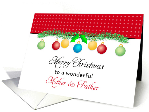For Mom & Dad / Parents Christmas Card-Merry Christmas-Ornaments card