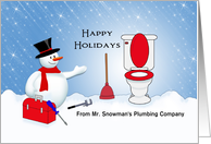 From Plumber Christmas Card-Snowman-Tool Box-Plunger-Toilet Custom card