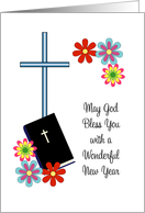 Religious New Year Card-Flowers, Cross and Bible card